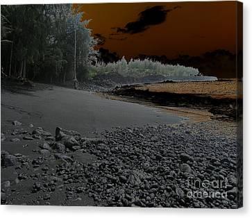 Volcanic Beach Canvas Print by Silvie Kendall