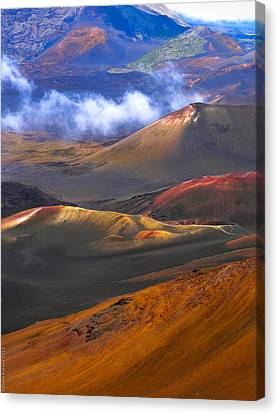 Volcanic Crater In Maui Canvas Print by Debbie Karnes