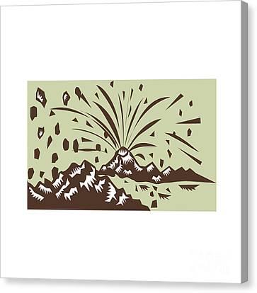Volcano Eruption Island Woodcut Canvas Print