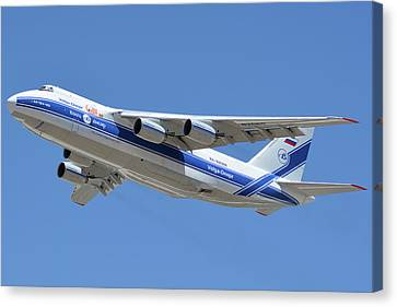 Canvas Print featuring the photograph Volga-dnepr An-124 Ra-82068 Take-off Phoenix Sky Harbor June 15 2016 by Brian Lockett