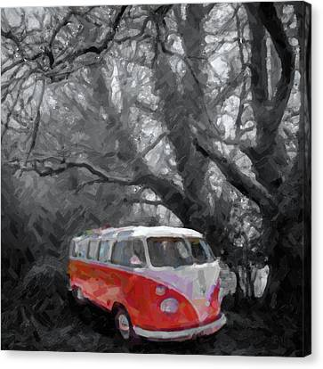 Ghostly Canvas Print - Volkswagen Camper Van by Tilly Williams