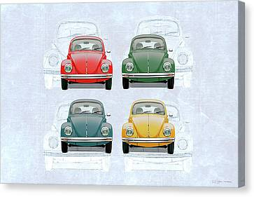 Canvas Print featuring the digital art Volkswagen Type 1 - Variety Of Volkswagen Beetle On Vintage Background by Serge Averbukh