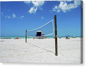 Canvas Print featuring the photograph Volley Ball On The Beach by Gary Wonning