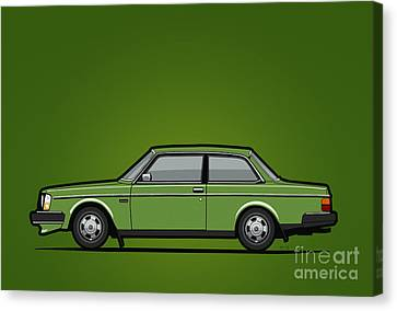 Volvo 242 Brick Coupe 200 Series Green Canvas Print
