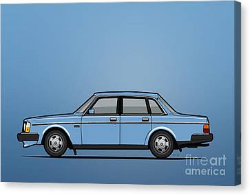 Volvo Brick 244 240 Sedan Brick Blue Canvas Print