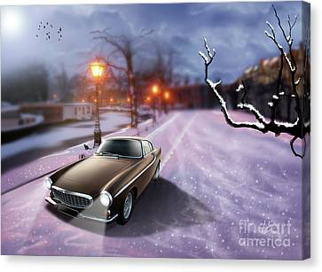 Volvo P1800 Snow Scene Canvas Print by Linton Hart