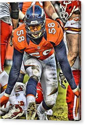 Von Miller Broncos Art 4 Canvas Print