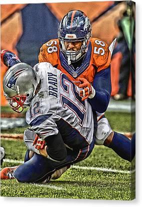 Von Miller Denver Broncos Art Canvas Print
