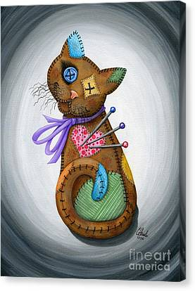 Canvas Print featuring the painting Voodoo Cat Doll - Patchwork Cat by Carrie Hawks