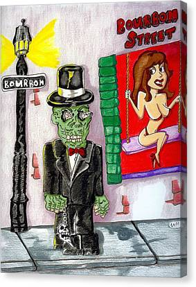 Voodoo Zombie On Bourbon Street Canvas Print by James Griffin