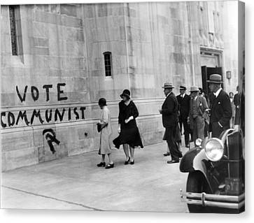 Vote Communist Is Painted On The Church Canvas Print by Everett