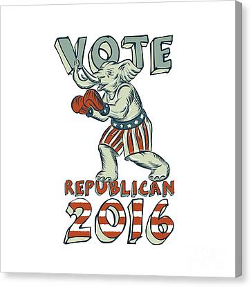 Vote Republican 2016 Elephant Boxer Isolated Etching Canvas Print by Aloysius Patrimonio