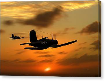 Vought Corsairs At Sunset Canvas Print by John Wills