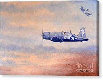 Canvas Print featuring the painting Vought F4u-1d Corsair Aircraft by Bill Holkham