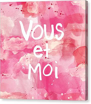 Pink Bedroom Canvas Print - Vous Et Moi by Linda Woods