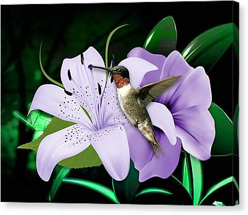 Flower Art Canvas Print - Voyage Hummingbird by Marvin Blaine