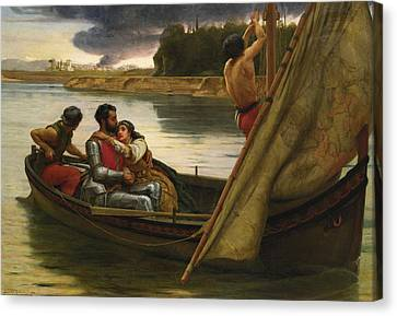 Voyage Of King Arthur And Morgan Le Fay To The Isle Of Avalon Canvas Print by Frank William Warwick Topham