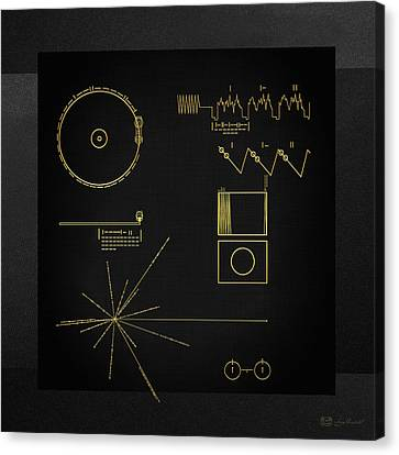 Voyager Golden Record Cover On Black Canvas Canvas Print