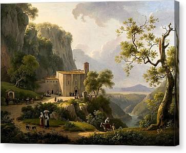 Vue Couvent Dans La Campagne Romaine Canvas Print
