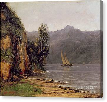 Vue Du Lac Leman Canvas Print by Gustave Courbet