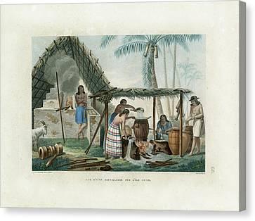 Vue Dune Distillerie Sur L Ile Guam Distillery Scene On Guam Canvas Print by d Apres A Pellion
