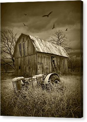 Vultures Circling The Old Barn Canvas Print by Randall Nyhof