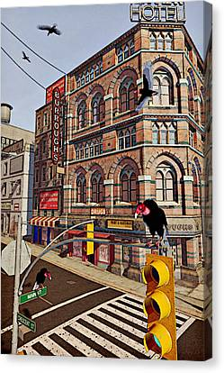 Vultures On Main Street Canvas Print by Peter J Sucy