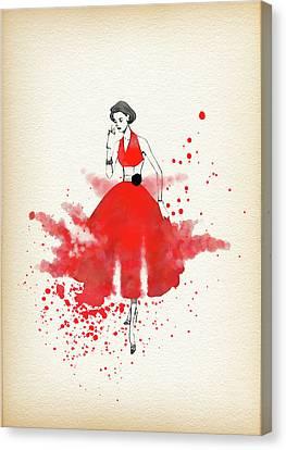 Vuntage Red Dress - By Diana Van Canvas Print by Diana Van