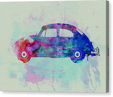 Vw Beetle Watercolor 1 Canvas Print by Naxart Studio