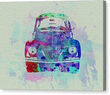 Vw Beetle Watercolor 2 Canvas Print by Naxart Studio