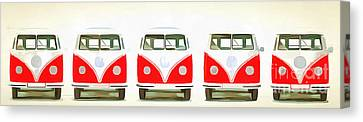Vw Bus Line Up Painting Canvas Print