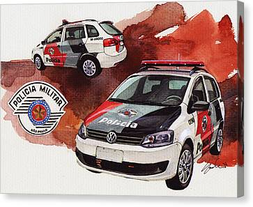 Vw Spacebox  Military Police Car Canvas Print