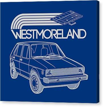 Vw Rabbit - Westmoreland Theme - Gray Canvas Print