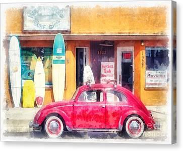 Vw Surfer Watercolor Canvas Print