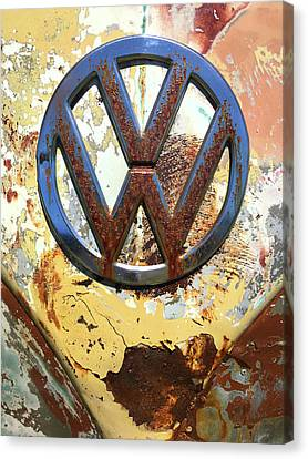 Vw Volkswagen Emblem With Rust Canvas Print