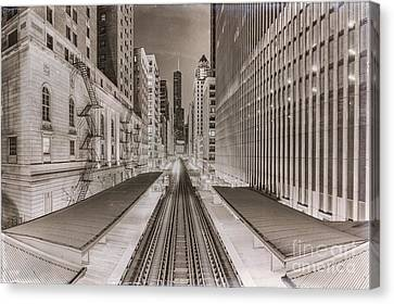 Fire Escape Canvas Print - Wabash And Adams -l- Cta Station And Trump International Tower Hotel At Dawn- Chicago Ilinois by Silvio Ligutti