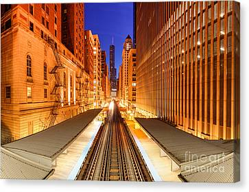 Fire Escape Canvas Print - Wabash And Adams -l- Cta Station And Trump International Tower Hotel At Dawn- Chicago Illinois by Silvio Ligutti