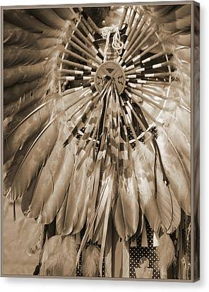 Canvas Print featuring the photograph Wacipi Dancer In Sepia by Heidi Hermes