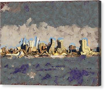 Canvas Print featuring the mixed media Wacky Philly Skyline by Trish Tritz