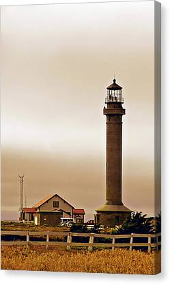 Wacky Weather At Point Arena Lighthouse - California Canvas Print