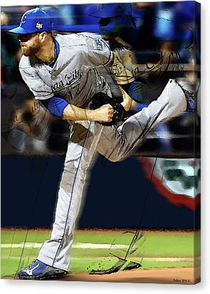 Bulls Canvas Print - Wade Davis Painting Game 5 World Series 2015 Champions Kansas City Royals by Thomas Pollart