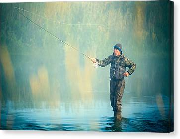 Wading For Trout Canvas Print by Todd Klassy