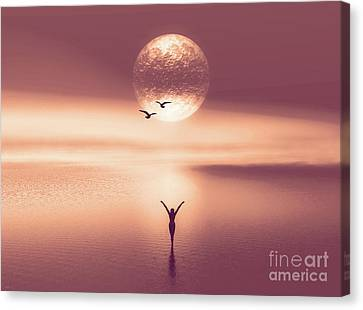 Wading In The Water Canvas Print