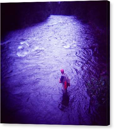 Colorado Flyfisherman Canvas Print - Wading Patiently by Matthew Lit