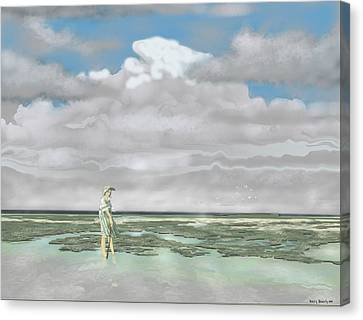 Wading The Salt Flats Canvas Print by Kerry Beverly