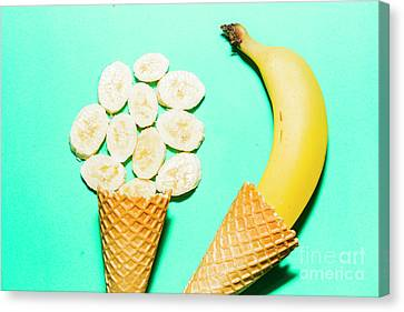 Waffle Cones With Fresh Banana Canvas Print by Jorgo Photography - Wall Art Gallery