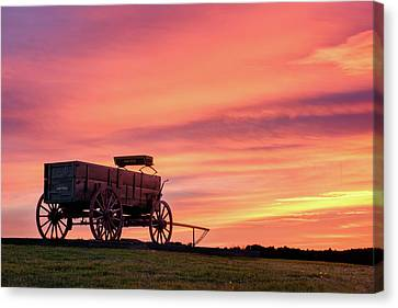 Wooden Wagons Canvas Print - Wagon Afire by Michael Blanchette