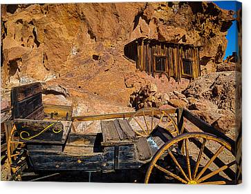 Wagon And Miners Hut Canvas Print by Garry Gay