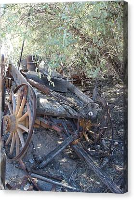 Wagon At The Ghost Town Canvas Print by Marilyn Barton