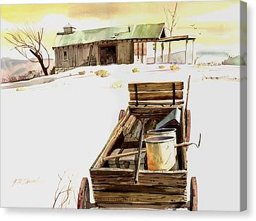 Canvas Print featuring the painting Wagon At White Sands by John Norman Stewart